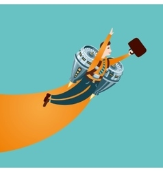Office man is flying on a rocket vector image