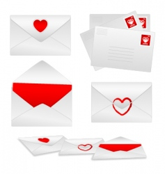 romantic envelopes vector image vector image