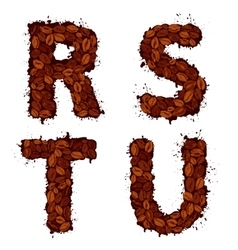 RSTU english alphabet letters made of coffee vector image vector image