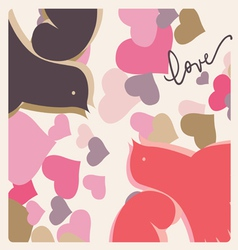 kissing pigeons valentine print vector image vector image