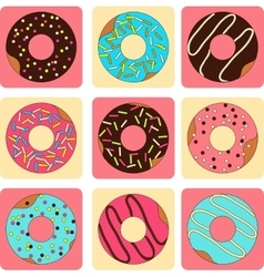set of sweet donuts flat style vector image vector image