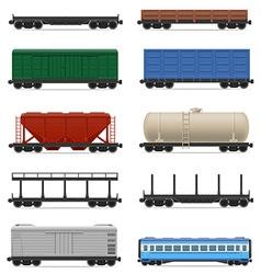 set railway carriage 01 vector image vector image