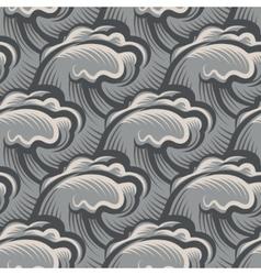 Vintage seamless ocean waves pattern vector image vector image
