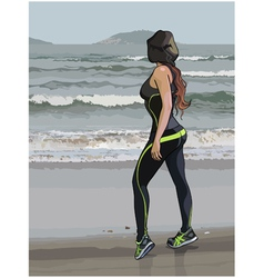 woman in fitness wear on the seafront vector image