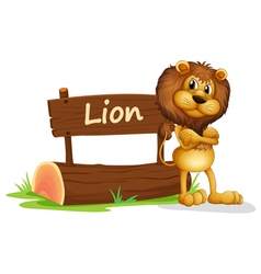 A signboard at the back of a scary lion vector image