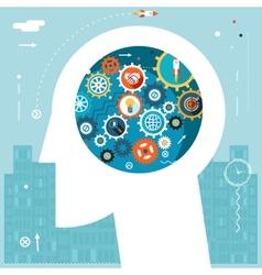 Businessman Head Idea Generation Gear Wheel Icons vector image