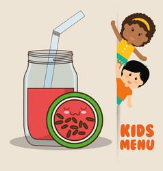 kids menu children watermelon juice diet vector image