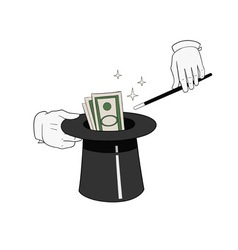 money from hat vector image vector image