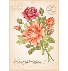 Rose postcard vector image vector image
