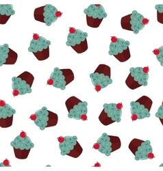Seamless texture with chokolate cupcakes vector image vector image