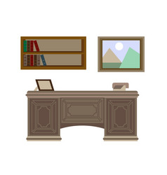 Study workplace with table hanging shelves and vector