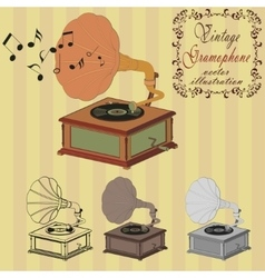 vintage gramophone on the striped background vector image