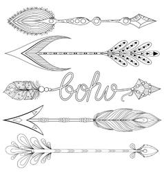 Bohemian Arrows set with feathers Hand drawn vector image vector image