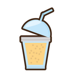 Cartoon fruit smoothie plastic cup straw vector