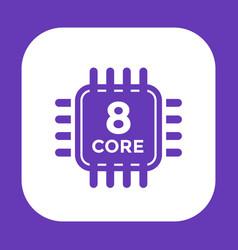 cpu icon on white 8 core processor vector image