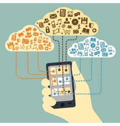 Hand holding smartphone connected to cloud vector image