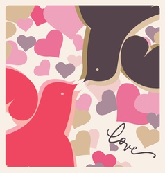 kissing doves valentine poster vector image vector image