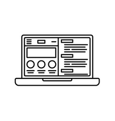 laptop or notebook computer with website flat icon vector image vector image