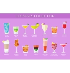 Set of alcohol cocktails icons Flat style design vector image vector image