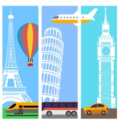 Transport travel vertical banners vector image vector image