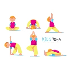 Yoga kids set vector image vector image