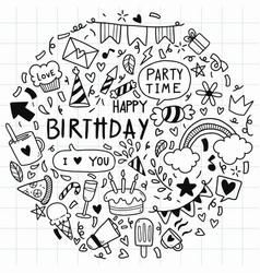 002-hand drawn background doodle happy birthday vector
