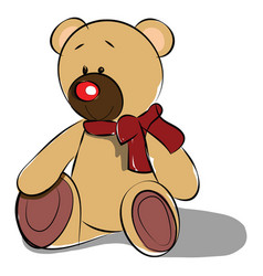 a cute teddy bear soft toy with a red ribbon vector image
