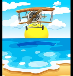 A plane flying above the sea vector