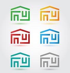 Abstract home icons set in different colors vector