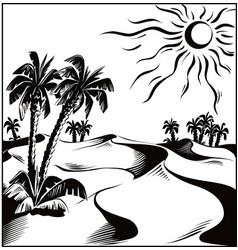 African desert oasis vector