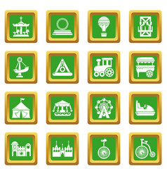 amusement park icons set green square vector image