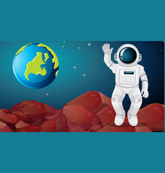 Astronaut on alien planet scene vector