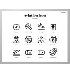 Aviation icons line pack vector