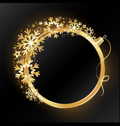 background golden christmas ball and snowflakes vector image