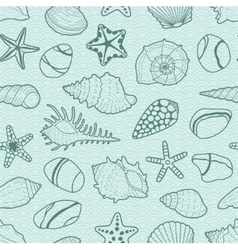 Background with sea shells stars stones vector
