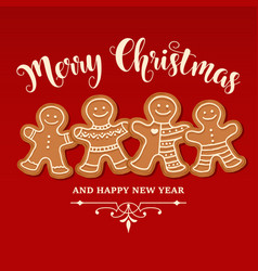 beautiful christmas card with gingerbread family vector image