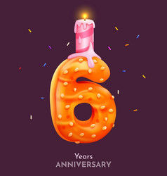 birthday cake font number 6 with candle six year vector image