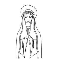 Blessed Virgin Mary in black and white contour vector image