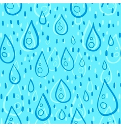 Blue water drops rainy seamless pattern vector