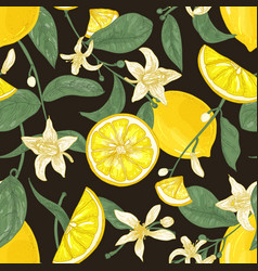 Botanical seamless pattern with lemons whole and vector