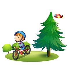 Boy and bike vector image