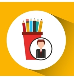businessman character pencil holders concept vector image