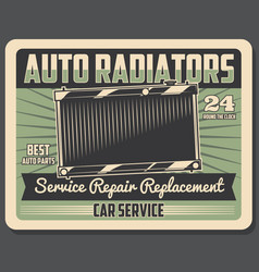 Car repair service retro poster with auto radiator vector