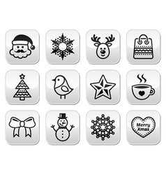 Christmas winter buttons set - Santa Claus snowm vector image