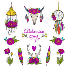 Collection of boho style elements vector