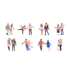 Collection of skating couples on ice rink vector