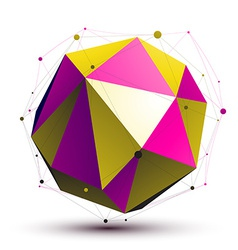 Colorful abstract 3D structure gold and purple vector
