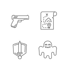 Common movie genres pixel perfect linear icons set vector