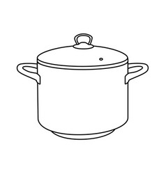 cooking pot line outline icon vector image