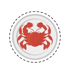 Crab sealife crustacean food animal dish line vector
